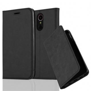 Cadorabo Hülle für LG K10 2017 in NACHT SCHWARZ - Handyhülle mit Magnetverschluss, Standfunktion und Kartenfach - Case Cover Schutzhülle Etui Tasche Book Klapp Style