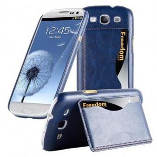 Cadorabo Hülle für Samsung Galaxy S3 / S3 NEO - Hülle in BLAU ? Handyhülle mit Kartenfach und Standfunktion - Hardcase Bumper Back Case Cover