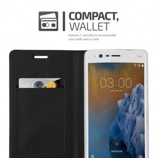 Cadorabo Hülle für Nokia 3 2017 in CLASSY SCHWARZ - Handyhülle mit Magnetverschluss, Standfunktion und Kartenfach - Case Cover Schutzhülle Etui Tasche Book Klapp Style - Vorschau 3
