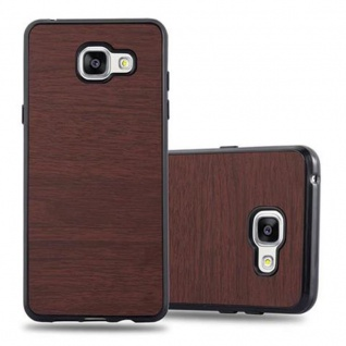 Cadorabo Hülle für Samsung Galaxy A3 2016 in WOODEN KAFFEE - Handyhülle aus flexiblem TPU Silikon - Silikonhülle Schutzhülle Ultra Slim Soft Back Cover Case Bumper