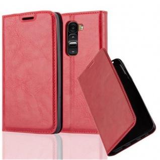 Cadorabo Hülle für LG G2 MINI in APFEL ROT - Handyhülle mit Magnetverschluss, Standfunktion und Kartenfach - Case Cover Schutzhülle Etui Tasche Book Klapp Style