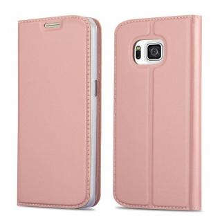 Cadorabo Hülle für Samsung Galaxy ALPHA in CLASSY ROSÉ GOLD - Handyhülle mit Magnetverschluss, Standfunktion und Kartenfach - Case Cover Schutzhülle Etui Tasche Book Klapp Style