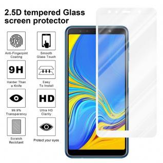 Cadorabo Vollbild Panzer Folie für Samsung Galaxy A7 2018 - Schutzfolie in TRANSPARENT mit WEISS - Gehärtetes (Tempered) Display-Schutzglas in 9H Härte mit 3D Touch Kompatibilität - Vorschau 4