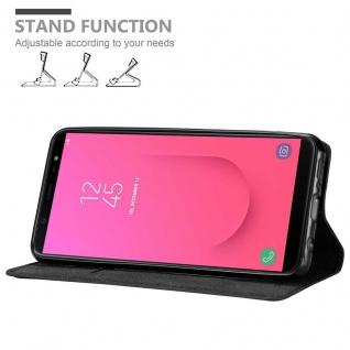 Cadorabo Hülle für Samsung Galaxy J8 2018 in NACHT SCHWARZ - Handyhülle mit Magnetverschluss, Standfunktion und Kartenfach - Case Cover Schutzhülle Etui Tasche Book Klapp Style - Vorschau 4