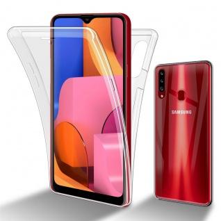 Cadorabo Hülle kompatibel mit Samsung Galaxy A20s in TRANSPARENT - 360° Full Body Handyhülle Front und Rückenschutz Rundumschutz Schutzhülle mit Displayschutz