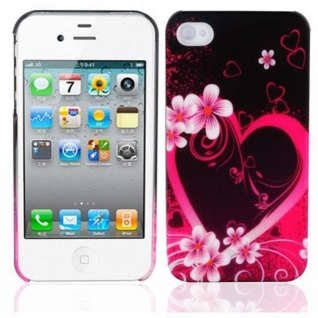 Cadorabo - Hard Cover für Apple iPhone 4 / iPhone 4S - Case Cover Schutzhülle Bumper im Design: LOVE FLOWER