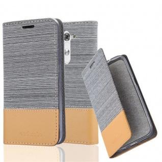 Cadorabo Hülle für LG G3 MINI / G3S in HELL GRAU BRAUN - Handyhülle mit Magnetverschluss, Standfunktion und Kartenfach - Case Cover Schutzhülle Etui Tasche Book Klapp Style
