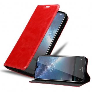 Cadorabo Hülle für Nokia 2.2 in APFEL ROT - Handyhülle mit Magnetverschluss, Standfunktion und Kartenfach - Case Cover Schutzhülle Etui Tasche Book Klapp Style