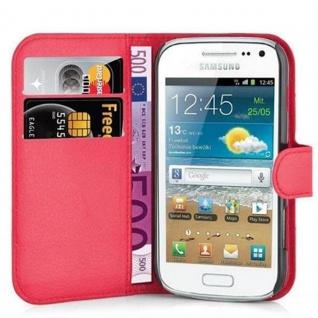 Cadorabo Hülle für Samsung Galaxy TREND PLUS in KARMIN ROT - Handyhülle mit Magnetverschluss, Standfunktion und Kartenfach - Case Cover Schutzhülle Etui Tasche Book Klapp Style