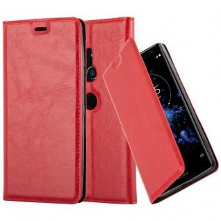 Cadorabo Hülle für Sony Xperia XZ2 in APFEL ROT Handyhülle mit Magnetverschluss, Standfunktion und Kartenfach Case Cover Schutzhülle Etui Tasche Book Klapp Style
