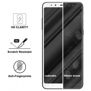 Cadorabo Vollbild Panzer Folie für Samsung Galaxy A8 2018 - Schutzfolie in TRANSPARENT mit WEISS - Gehärtetes (Tempered) Display-Schutzglas in 9H Härte mit 3D Touch Kompatibilität - Vorschau 3