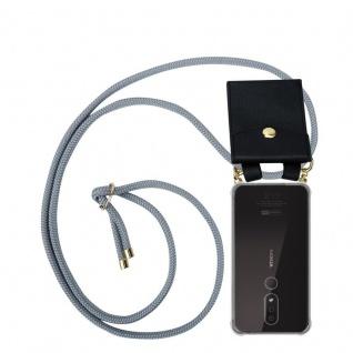 Cadorabo Handy Kette für Nokia 4.2 in SILBER GRAU Silikon Necklace Umhänge Hülle mit Gold Ringen, Kordel Band Schnur und abnehmbarem Etui Schutzhülle