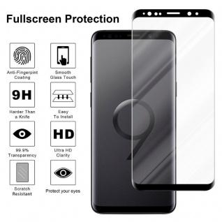 Cadorabo Panzer Folie voll klebend für Samsung Galaxy S9 Plus - Schutzfolie in TRANSPARENT mit SCHWARZ - Gehärtetes Full Glue (Tempered) Display-Schutzglas in 9H Härte mit 3D Touch Kompatibilität - Vorschau 4