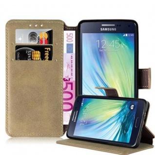 Cadorabo Hülle für Samsung Galaxy A5 2015 (5) - Hülle in MATT SAND BRAUN - Handyhülle mit Standfunktion und Kartenfach im Retro Design - Case Cover Schutzhülle Etui Tasche Book Klapp Style