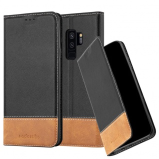 Cadorabo Hülle für Samsung Galaxy S9 PLUS in SCHWARZ BRAUN ? Handyhülle mit Magnetverschluss, Standfunktion und Kartenfach ? Case Cover Schutzhülle Etui Tasche Book Klapp Style - Vorschau 1