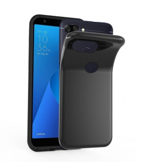 Cadorabo Hülle für Asus ZenFone MAX PLUS M1 in SCHWARZ - Handyhülle aus flexiblem TPU Silikon - Silikonhülle Schutzhülle Ultra Slim Soft Back Cover Case Bumper