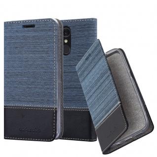 Cadorabo Hülle für LG Q7a in DUNKEL BLAU SCHWARZ - Handyhülle mit Magnetverschluss, Standfunktion und Kartenfach - Case Cover Schutzhülle Etui Tasche Book Klapp Style