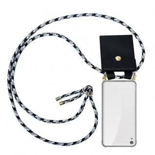 Cadorabo Handy Kette für Sony Xperia E5 in SCHWARZ CAMOUFLAGE - Silikon Necklace Umhänge Hülle mit Gold Ringen, Kordel Band Schnur und abnehmbarem Etui ? Schutzhülle