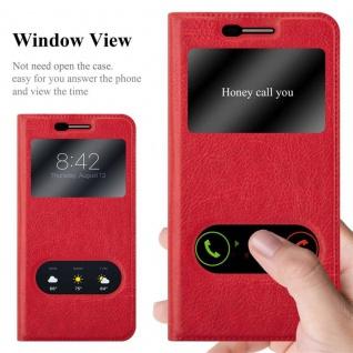 Cadorabo Hülle für LG K10 2017 in SAFRAN ROT - Handyhülle mit Magnetverschluss, Standfunktion und 2 Sichtfenstern - Case Cover Schutzhülle Etui Tasche Book Klapp Style - Vorschau 2