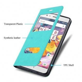 Cadorabo Hülle für OnePlus 3 / 3T in MINT TÜRKIS - Handyhülle mit Magnetverschluss, Standfunktion und 2 Sichtfenstern - Case Cover Schutzhülle Etui Tasche Book Klapp Style - Vorschau 3
