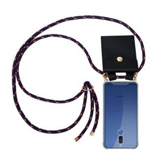 Cadorabo Handy Kette für Huawei MATE 10 LITE in BLAU ROT WEISS GEPUNKTET - Silikon Necklace Umhänge Hülle mit Gold Ringen, Kordel Band Schnur und abnehmbarem Etui ? Schutzhülle