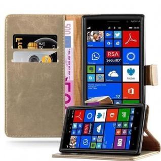 Cadorabo Hülle für Nokia Lumia 830 in CAPPUCCINO BRAUN ? Handyhülle mit Magnetverschluss, Standfunktion und Kartenfach ? Case Cover Schutzhülle Etui Tasche Book Klapp Style
