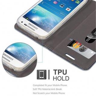 Cadorabo Hülle für Samsung Galaxy S4 MINI in DUNKEL BLAU SCHWARZ - Handyhülle mit Magnetverschluss, Standfunktion und Kartenfach - Case Cover Schutzhülle Etui Tasche Book Klapp Style - Vorschau 4