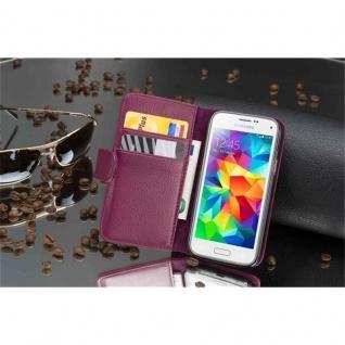 Cadorabo Hülle für Samsung Galaxy S5 MINI / S5 MINI DUOS in BORDEAUX LILA Handyhülle aus strukturiertem Kunstleder mit Standfunktion und Kartenfach Case Cover Schutzhülle Etui Tasche Book Klapp Style - Vorschau 4