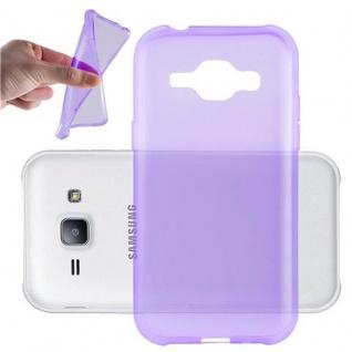 Cadorabo Hülle für Samsung Galaxy J1 2015 in TRANSPARENT LILA - Handyhülle aus flexiblem TPU Silikon - Silikonhülle Schutzhülle Ultra Slim Soft Back Cover Case Bumper
