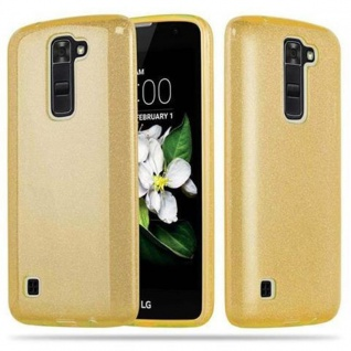 Cadorabo Hülle für LG K7 2016 - Hülle in STERNENSTAUB GOLD - TPU Silikon und Hardcase Handyhülle im Glitzer Design - Hard Case TPU Silikon Schutzhülle