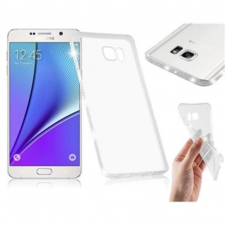 Cadorabo Hülle für Samsung Galaxy NOTE 5 - Hülle in TRANSPARENT WEIß - Handyhülle aus TPU Silikon im Strass Design - Silikonhülle Schutzhülle Ultra Slim Soft Back Cover Case Bumper