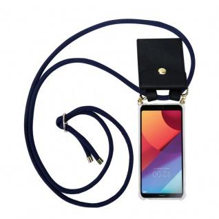 Cadorabo Handy Kette für LG G6 in TIEF BLAU - Silikon Necklace Umhänge Hülle mit Gold Ringen, Kordel Band Schnur und abnehmbarem Etui ? Schutzhülle