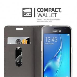 Cadorabo Hülle für Samsung Galaxy J1 2016 in HELL GRAU BRAUN - Handyhülle mit Magnetverschluss, Standfunktion und Kartenfach - Case Cover Schutzhülle Etui Tasche Book Klapp Style - Vorschau 3