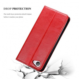 Cadorabo Hülle für HTC Desire 12 in APFEL ROT - Handyhülle mit Magnetverschluss, Standfunktion und Kartenfach - Case Cover Schutzhülle Etui Tasche Book Klapp Style - Vorschau 5