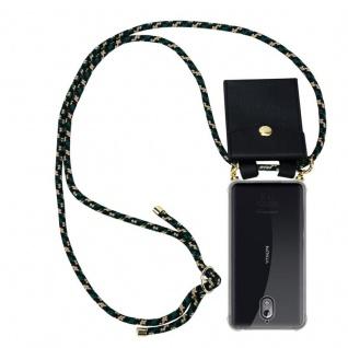 Cadorabo Handy Kette für Nokia 3.1 2018 in CAMOUFLAGE Silikon Necklace Umhänge Hülle mit Gold Ringen, Kordel Band Schnur und abnehmbarem Etui Schutzhülle