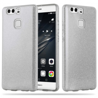 Cadorabo Hülle für Huawei P9 PLUS - Hülle in STERNENSTAUB SILBER - TPU Silikon und Hardcase Handyhülle im Glitzer Design - Hard Case TPU Silikon Schutzhülle
