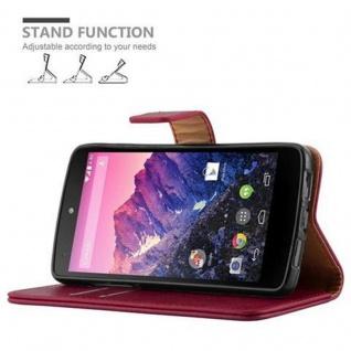 Cadorabo Hülle für LG NEXUS 5 in WEIN ROT ? Handyhülle mit Magnetverschluss, Standfunktion und Kartenfach ? Case Cover Schutzhülle Etui Tasche Book Klapp Style - Vorschau 5