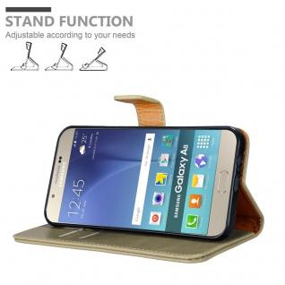 Cadorabo Hülle für Samsung Galaxy A8 2015 in CAPPUCCINO BRAUN - Handyhülle mit Magnetverschluss, Standfunktion und Kartenfach - Case Cover Schutzhülle Etui Tasche Book Klapp Style - Vorschau 4