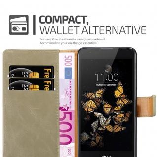 Cadorabo Hülle für LG K8 2016 in CAPPUCCINO BRAUN - Handyhülle mit Magnetverschluss, Standfunktion und Kartenfach - Case Cover Schutzhülle Etui Tasche Book Klapp Style - Vorschau 5