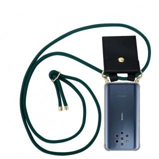 Cadorabo Handy Kette für Nokia 10 in ARMEE GRÜN Silikon Necklace Umhänge Hülle mit Gold Ringen, Kordel Band Schnur und abnehmbarem Etui Schutzhülle