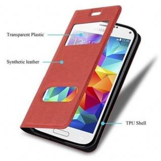 Cadorabo Hülle für Samsung Galaxy S5 MINI / S5 MINI DUOS in SAFRAN ROT Handyhülle mit Magnetverschluss, Standfunktion und 2 Sichtfenstern Case Cover Schutzhülle Etui Tasche Book Klapp Style - Vorschau 3