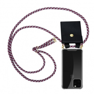 Cadorabo Handy Kette für Apple iPhone 11 PRO MAX (XI PRO MAX) in ROT WEISS - Silikon Necklace Umhänge Hülle mit Gold Ringen, Kordel Band Schnur und abnehmbarem Etui - Schutzhülle
