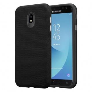Cadorabo Hülle für Samsung Galaxy J7 2017 in DAHLIEN SCHWARZ ? Outdoor Handyhülle mit extra Grip Anti Rutsch Oberfläche im Triangle Design aus Silikon und Kunststoff - Schutzhülle Hybrid Hardcase Back Case