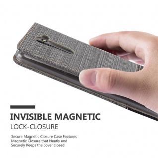 Cadorabo Hülle für LG STYLUS 2 in GRAU SCHWARZ - Handyhülle mit Magnetverschluss, Standfunktion und Kartenfach - Case Cover Schutzhülle Etui Tasche Book Klapp Style - Vorschau 4