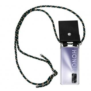 Cadorabo Handy Kette für Honor 30 Pro+ in CAMOUFLAGE Silikon Necklace Umhänge Hülle mit Silber Ringen, Kordel Band Schnur und abnehmbarem Etui Schutzhülle
