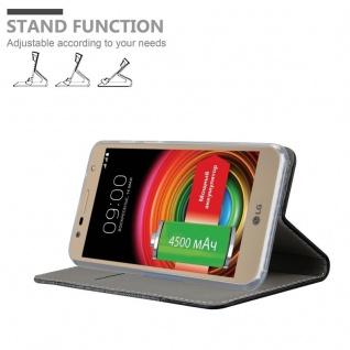 Cadorabo Hülle für LG X POWER 2 in GRAU SCHWARZ - Handyhülle mit Magnetverschluss, Standfunktion und Kartenfach - Case Cover Schutzhülle Etui Tasche Book Klapp Style - Vorschau 4