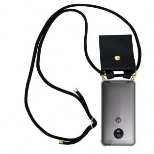 Cadorabo Handy Kette für Motorola MOTO G5 in SCHWARZ ? Silikon Necklace Umhänge Hülle mit Gold Ringen, Kordel Band Schnur und abnehmbarem Etui ? Schutzhülle