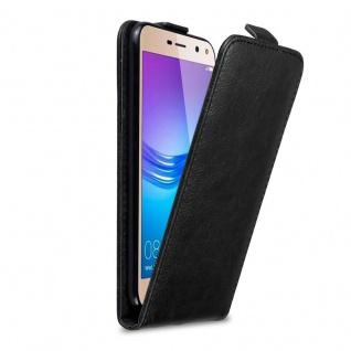 Cadorabo Hülle für Huawei Y6 2017 / Y5 2017 in NACHT SCHWARZ Handyhülle im Flip Design mit Magnetverschluss Case Cover Schutzhülle Etui Tasche Book Klapp Style