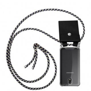 Cadorabo Handy Kette für Samsung Galaxy NOTE 3 in DUNKELBLAU GELB - Silikon Necklace Umhänge Hülle mit Silber Ringen, Kordel Band Schnur und abnehmbarem Etui - Schutzhülle