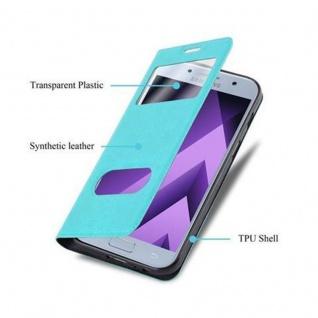 Cadorabo Hülle für Samsung Galaxy A3 2017 in MINT TÜRKIS ? Handyhülle mit Magnetverschluss, Standfunktion und 2 Sichtfenstern ? Case Cover Schutzhülle Etui Tasche Book Klapp Style - Vorschau 3